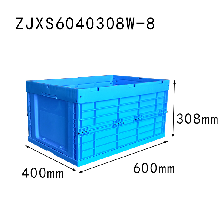 600*400*308 mm collapsible crate without lid plastic foldable storage box and bin
