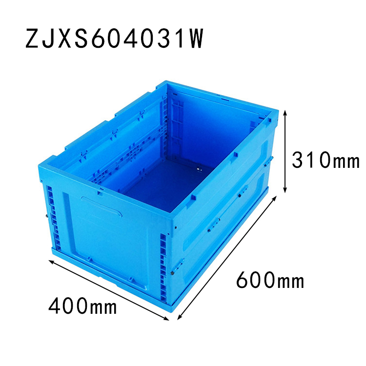 600*400*310 mm collapsible crate without lid plastic foldable storage box and bin
