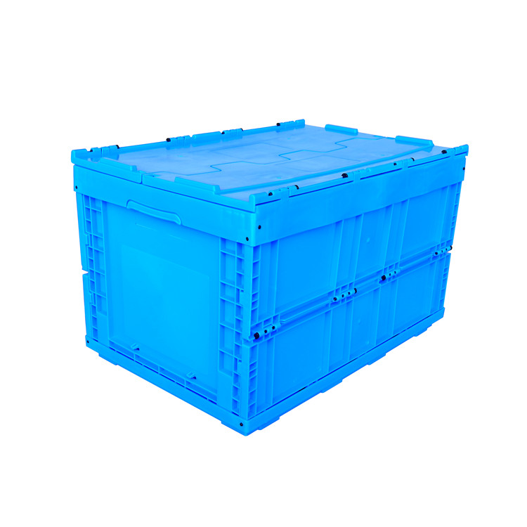ZJXS6040368C-5 foldable box with lid PP material storage collapsible crate in blue color