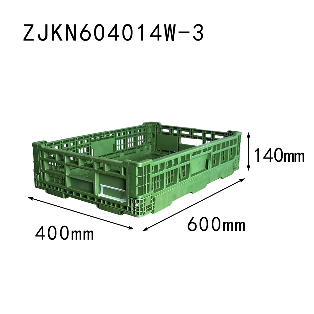 ZJKN604014W-3 PP material vented type plastic collapsible fruit use crate