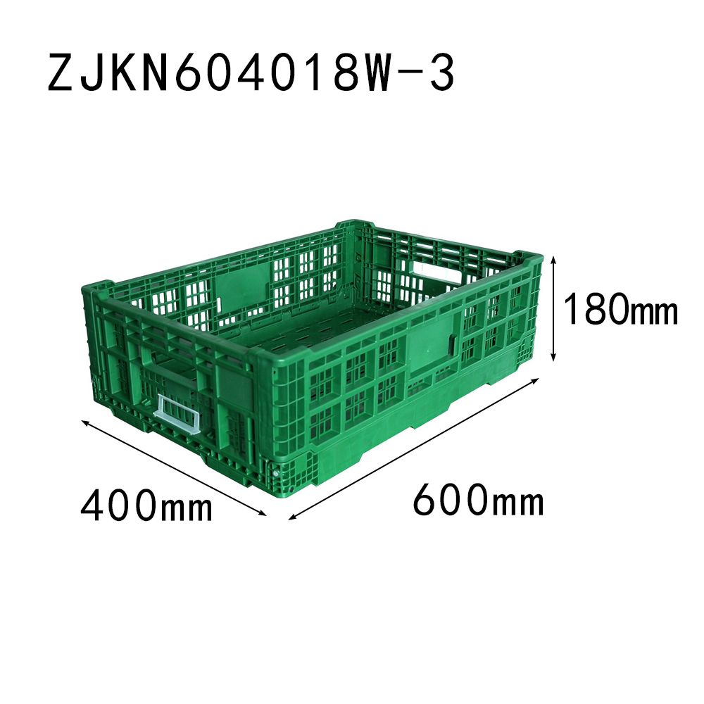 ZJKN604018W-3 fruit use PP material vented type plastic collapsible  crate