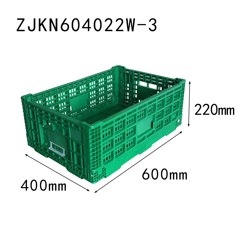 ZJKN604022W-3 farm use PP material vented type plastic collapsible  crate for fruit and vegetable