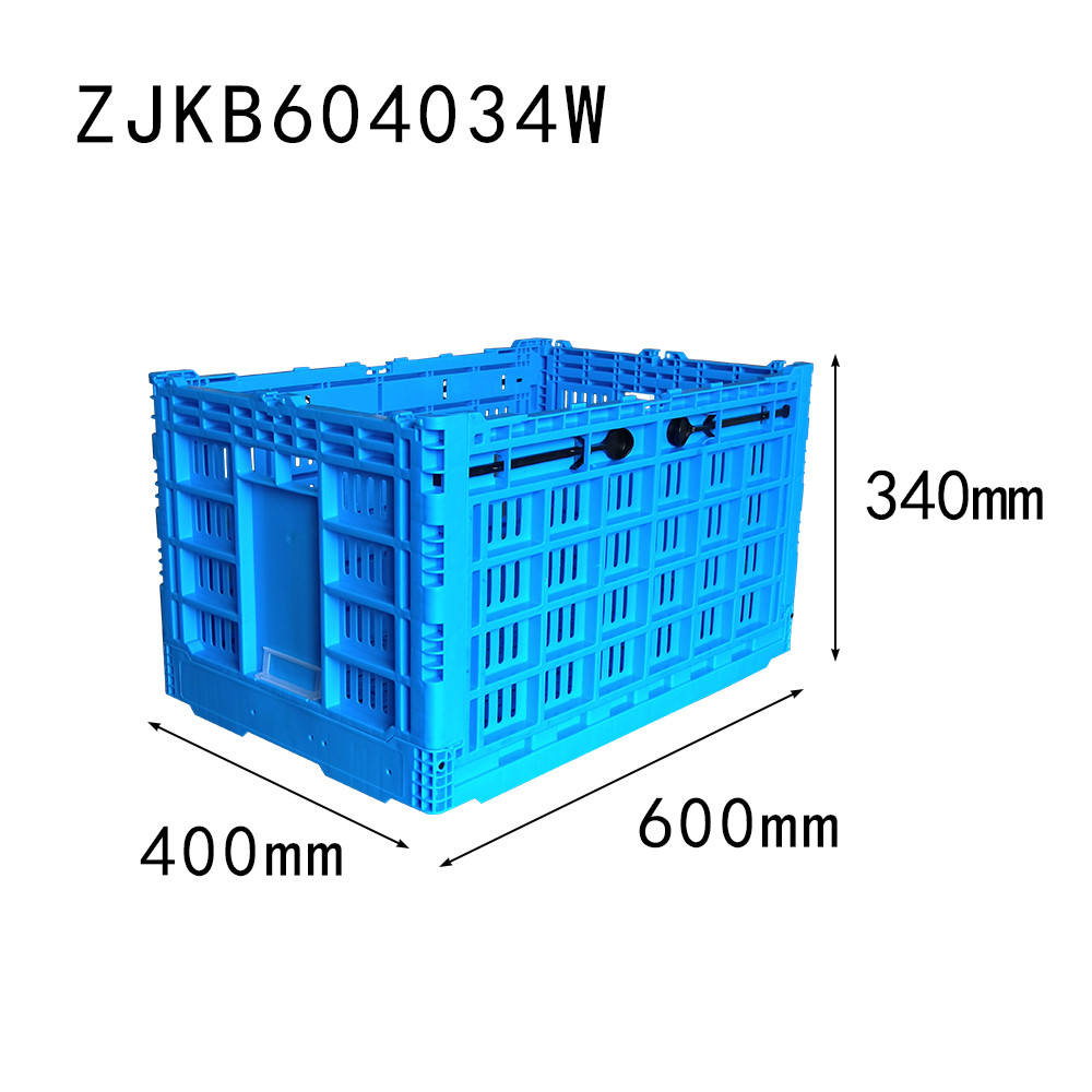 ZJKB604034W fruit use PP material vented type plastic collapsible  crate in blue color