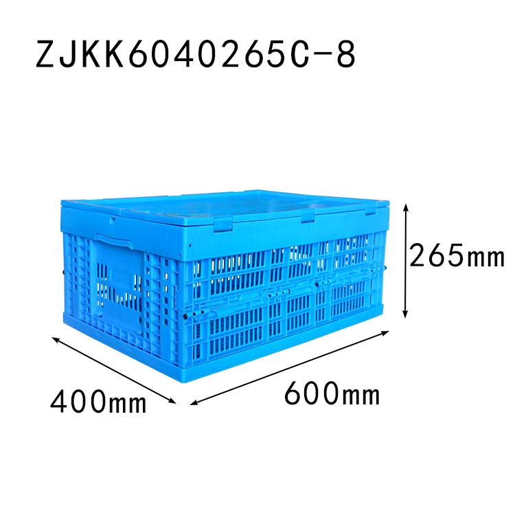 ZJKK6040265C-8 fruit use PP material vented type plastic collapsible  crate with lid