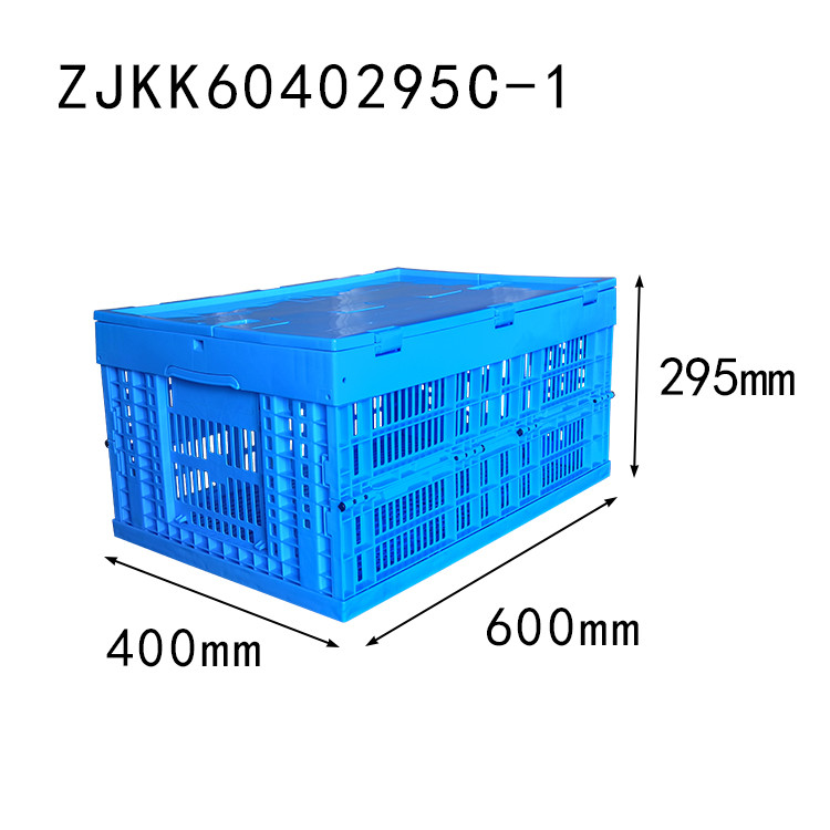 ZJKK6040295C-1 fruit and vegetable use PP material vented type plastic collapsible  crate with lid