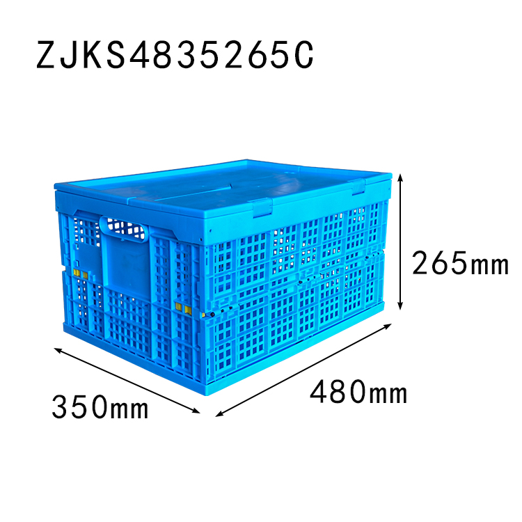 ZJKS4835265C mesh wall foldable storage basket plastic collapsible crate with lid