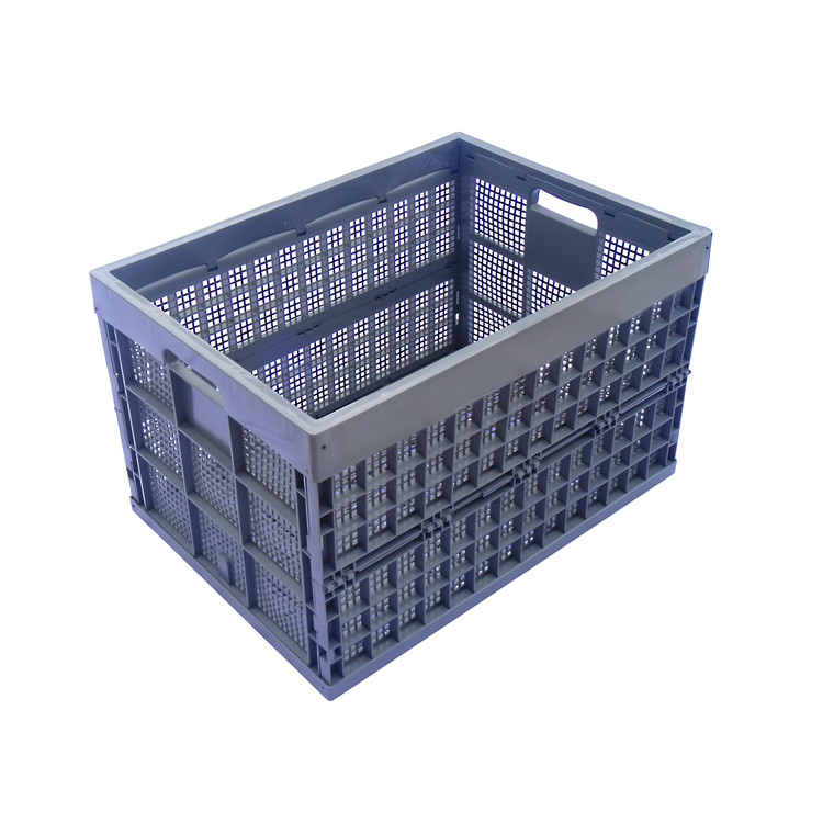gray color 800*580*500mm vented type plastic collapsible crate foldable storage box