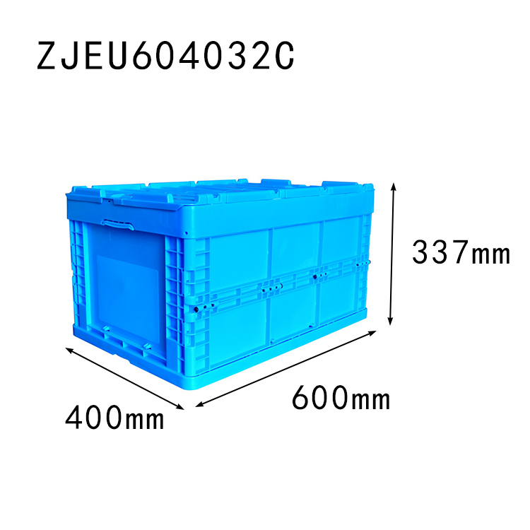 with top cover 600*400*337 mm collapsible storage crate plastic foldable box