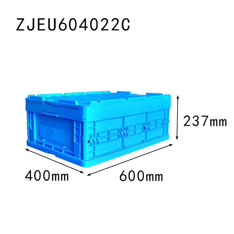 with top cover 600*400*237mm folding box manufacturer plastic material collapsible storage crate
