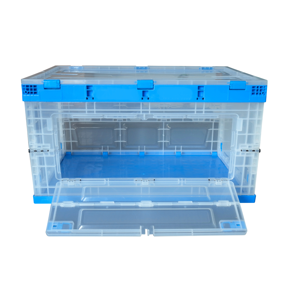front open storage box 650*440*360 mm transparent collapsible bin with lid