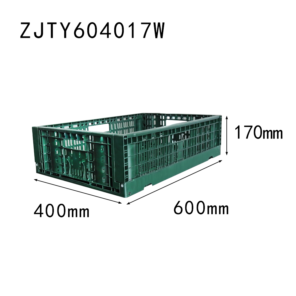 NEW item 600*400*170 mm vented type collapsible folding vegetable crate plastic basket