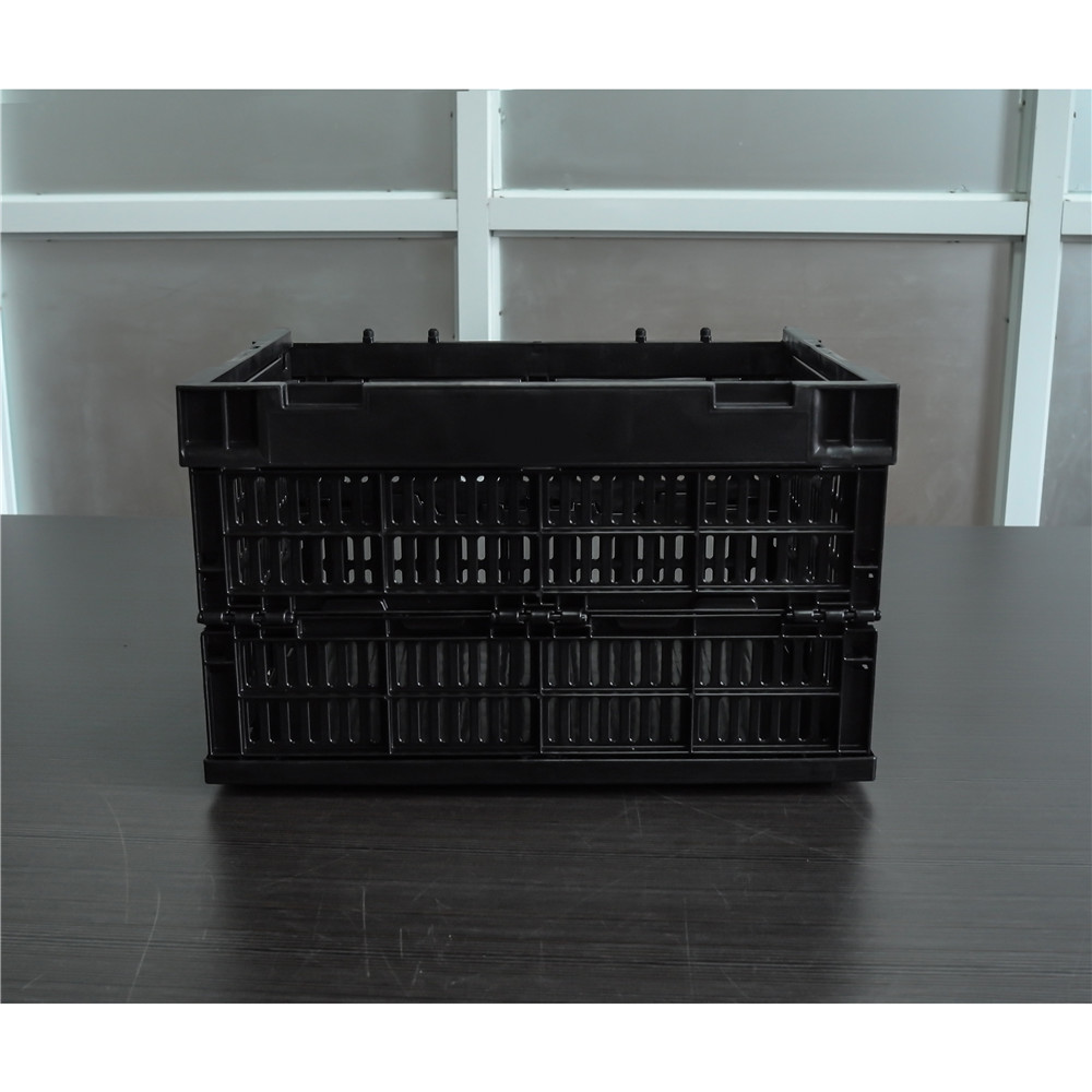 black color 400x300x240 plastic material vented type collapsible crate