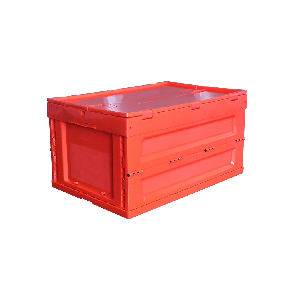 Red color 600x400x320 plastic folding crate with top cover