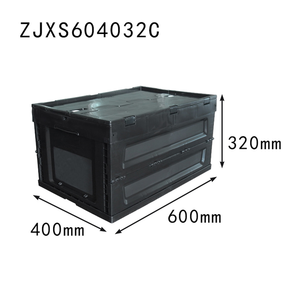 black color 600x400x320  plastic folding crates with top cover