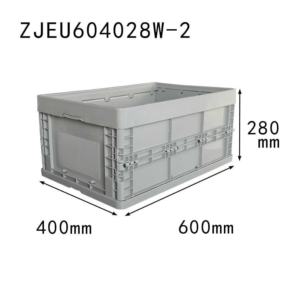 gray color 600x400x280 plastic folding collapsible storage crates