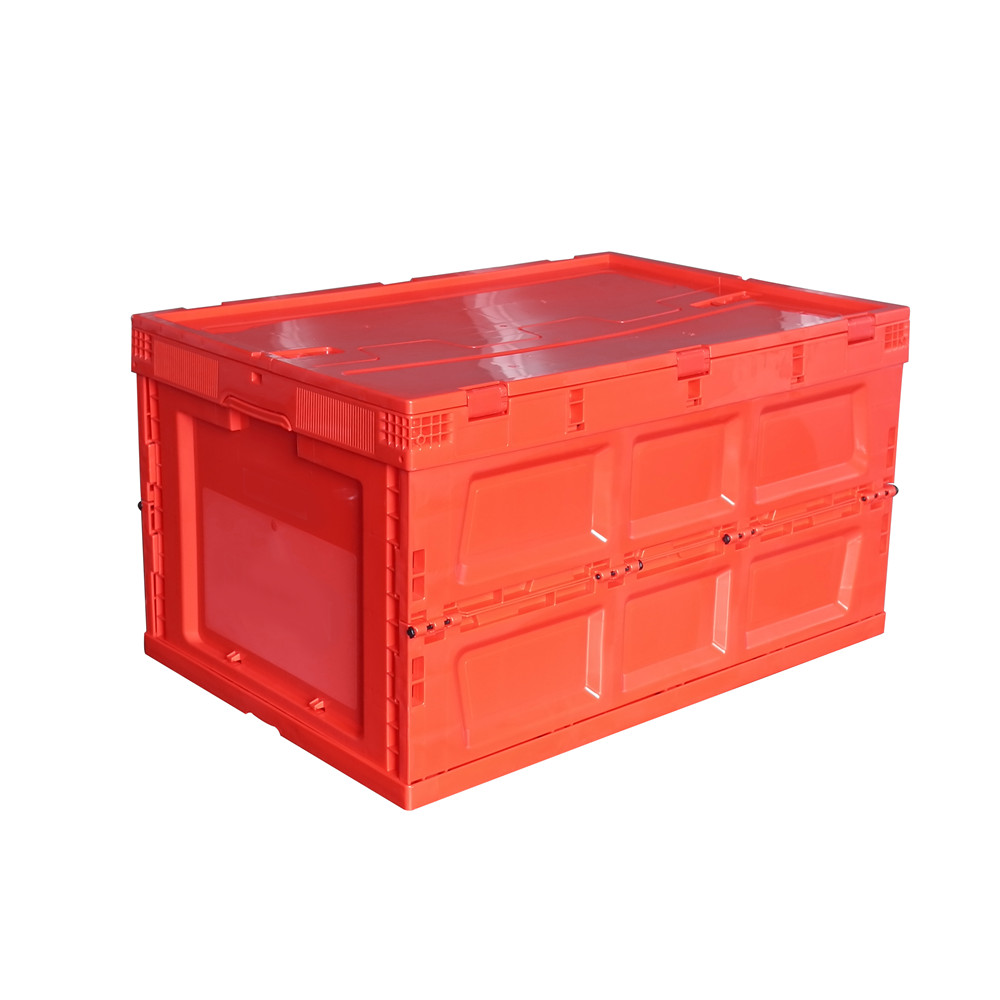 650x440x360 red color collapsible plastic folding crate with top cover