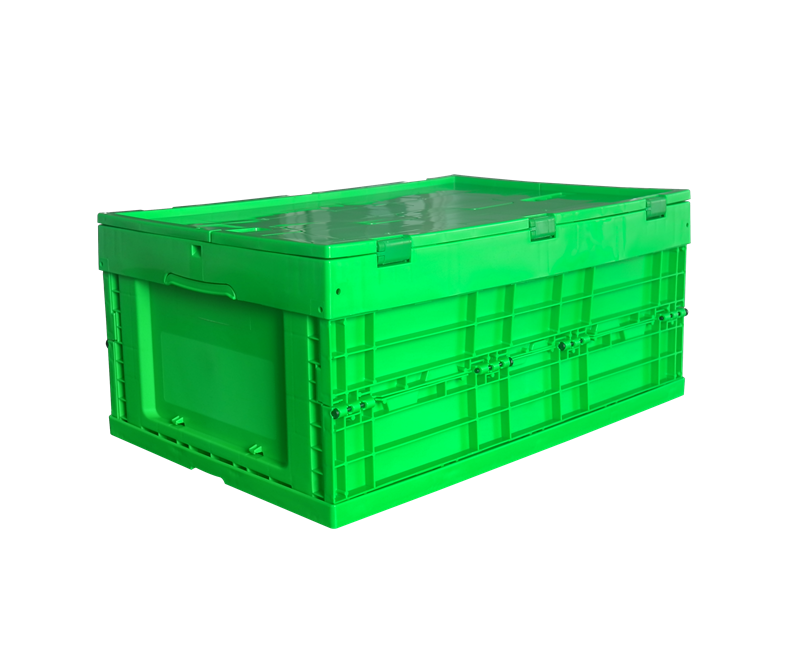 green color 600x400x265 plastic collapsible type solid box and crate