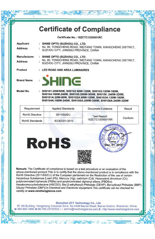 SHINE RoHS Certificate