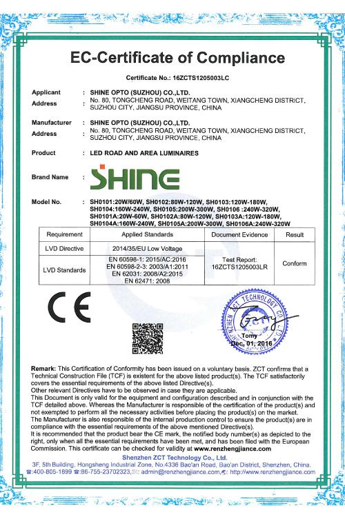 SHINE LVD Certificate
