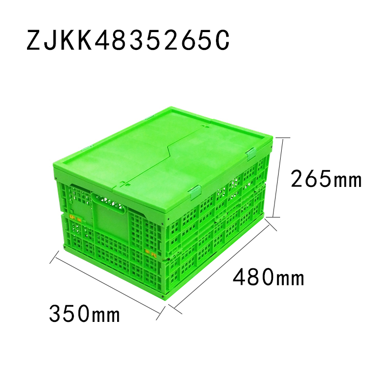 green color 480x350x265 vented type plastic foldable crate with lid