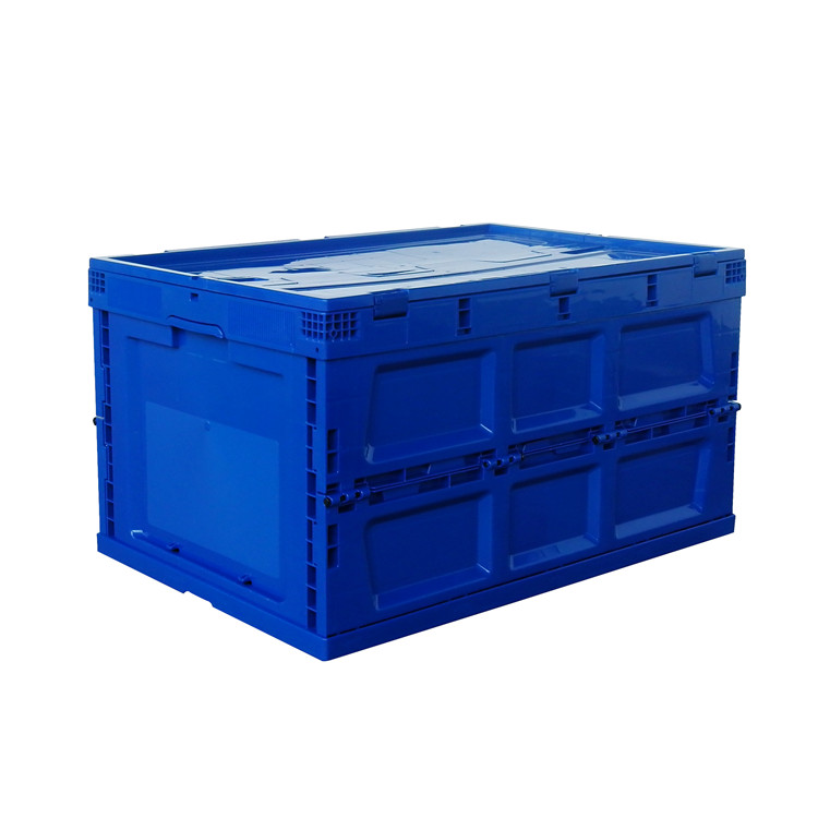 Navy color 650x440x360 collapsible type plastic storage crates