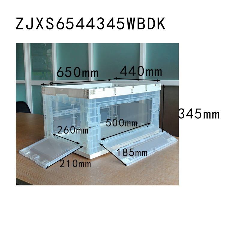 650x440x345 white color with transparent plastic collapsible crate with side open
