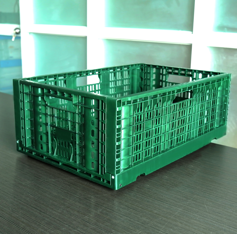 600x400x230 vented type collapsible plastic folding crate for fruit
