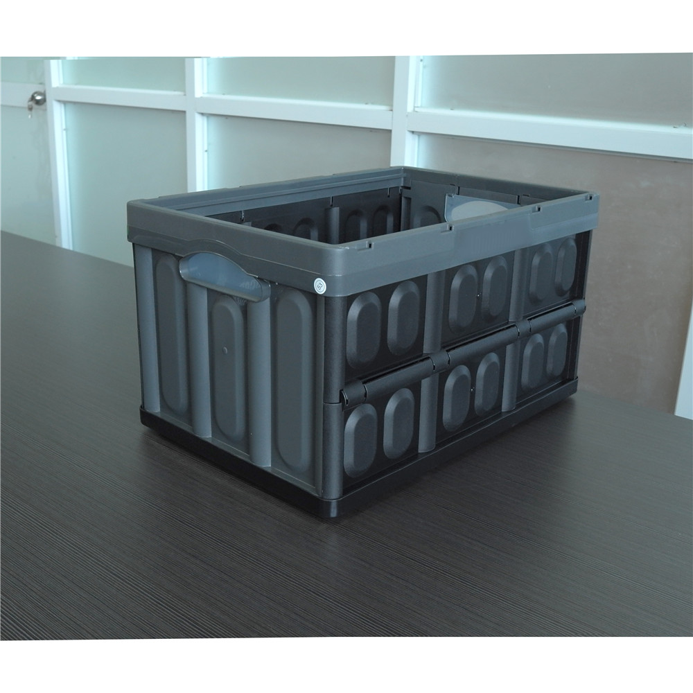 Gray color 530x360x295 solid style collapsible folding container
