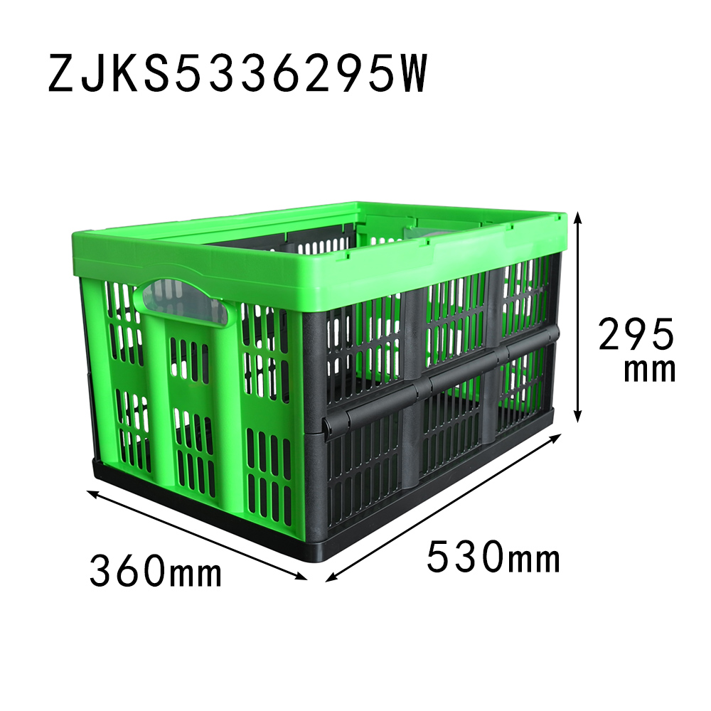 green color 530x360x295 vented type plastic storage baskets