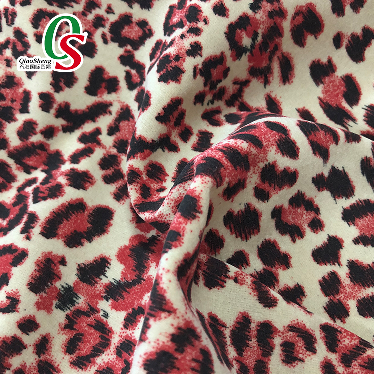 Leopard rayon viscose flocking fabric for bags,shoes