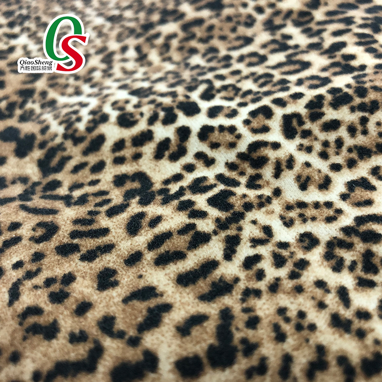 Full dull 100% nylon velvet leopard printed flocking fabric for bag,shoes
