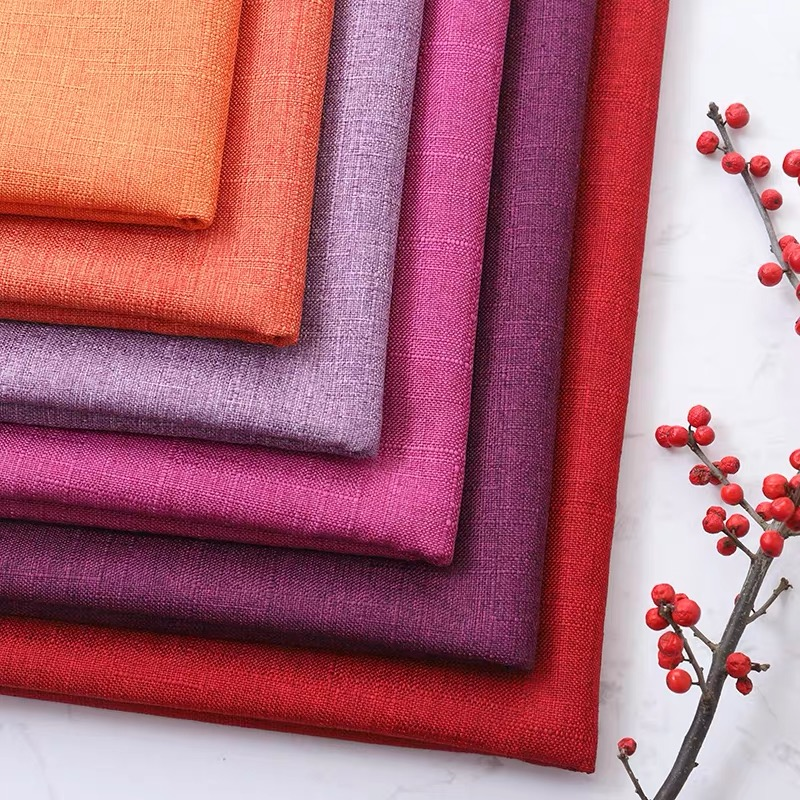 High quality bamboo woven linen fabric for sofa curtain