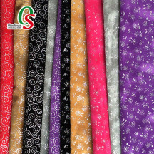 High quality glitter printing 100% polyester viscose flocking fabric for shoes material
