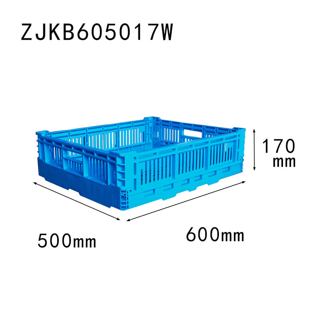 ZJKB605017W farm use vented type plastic collapsible  crate for fruit and vegetable