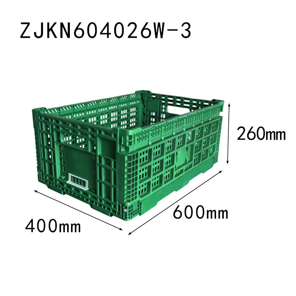 ZJKN604026W-3 fruit use reusable PP material vented type plastic collapsible  crate vegetable crate