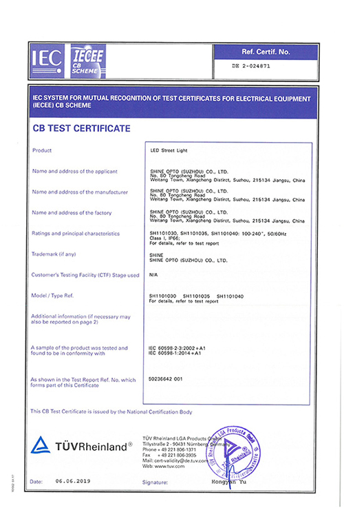 SHINE-LED-Street-Light-CB-Certificate
