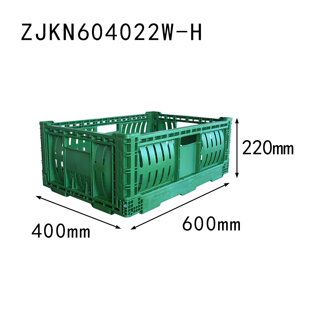 ZJKN604022W-H fruit use PP material vented type plastic collapsible  crate