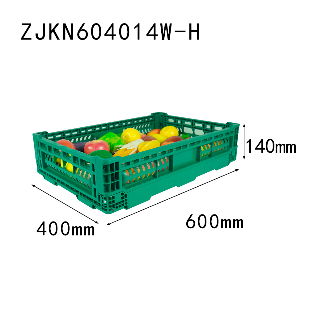 ZJKN604014W-H 600*400*140 mm fruit use PP material vented type plastic collapsible  crate for fruit