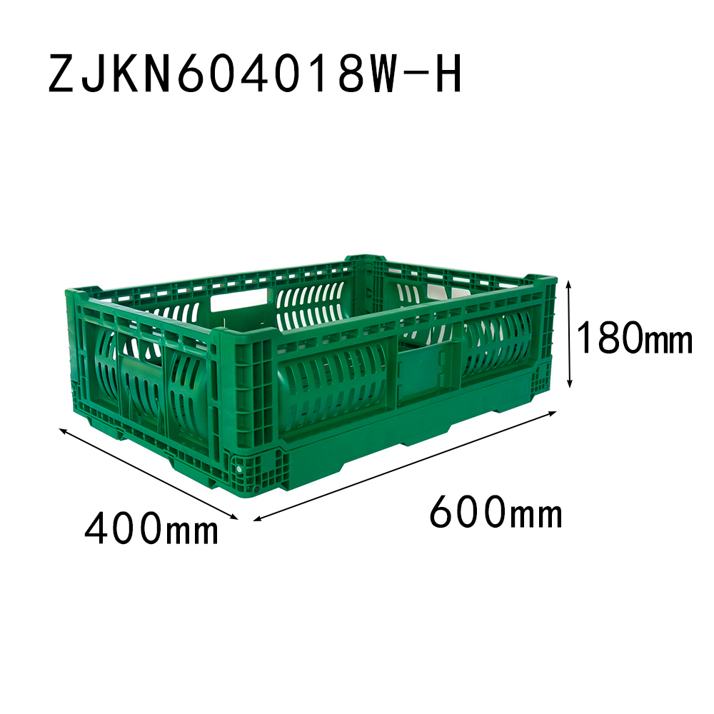 ZJKN604018W-H 600*400*180 mm fruit use PP material vented type plastic collapsible  crate for fruit
