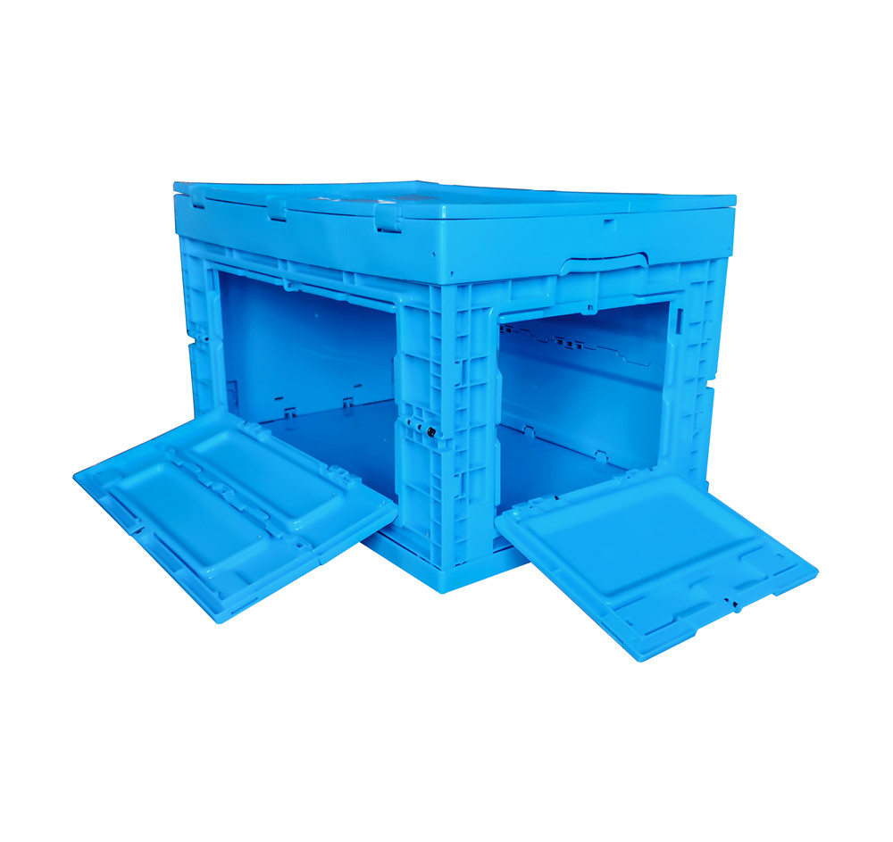 front open blue color 600x400x355mm  plastic folding box crates with top cover