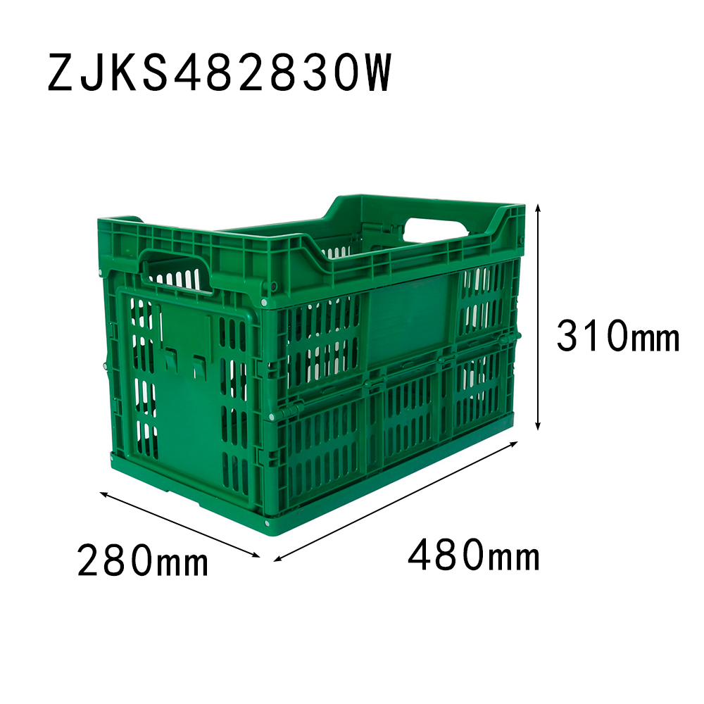 green color 480x280x310 cigarette transportation use vented type plastic foldable crate