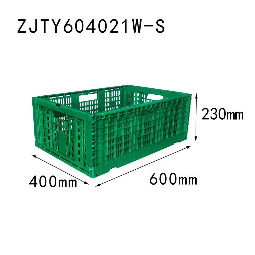 "23.6""x15.7""x9.0"" supermarket use vented type collapsible plastic folding crate for fruit"