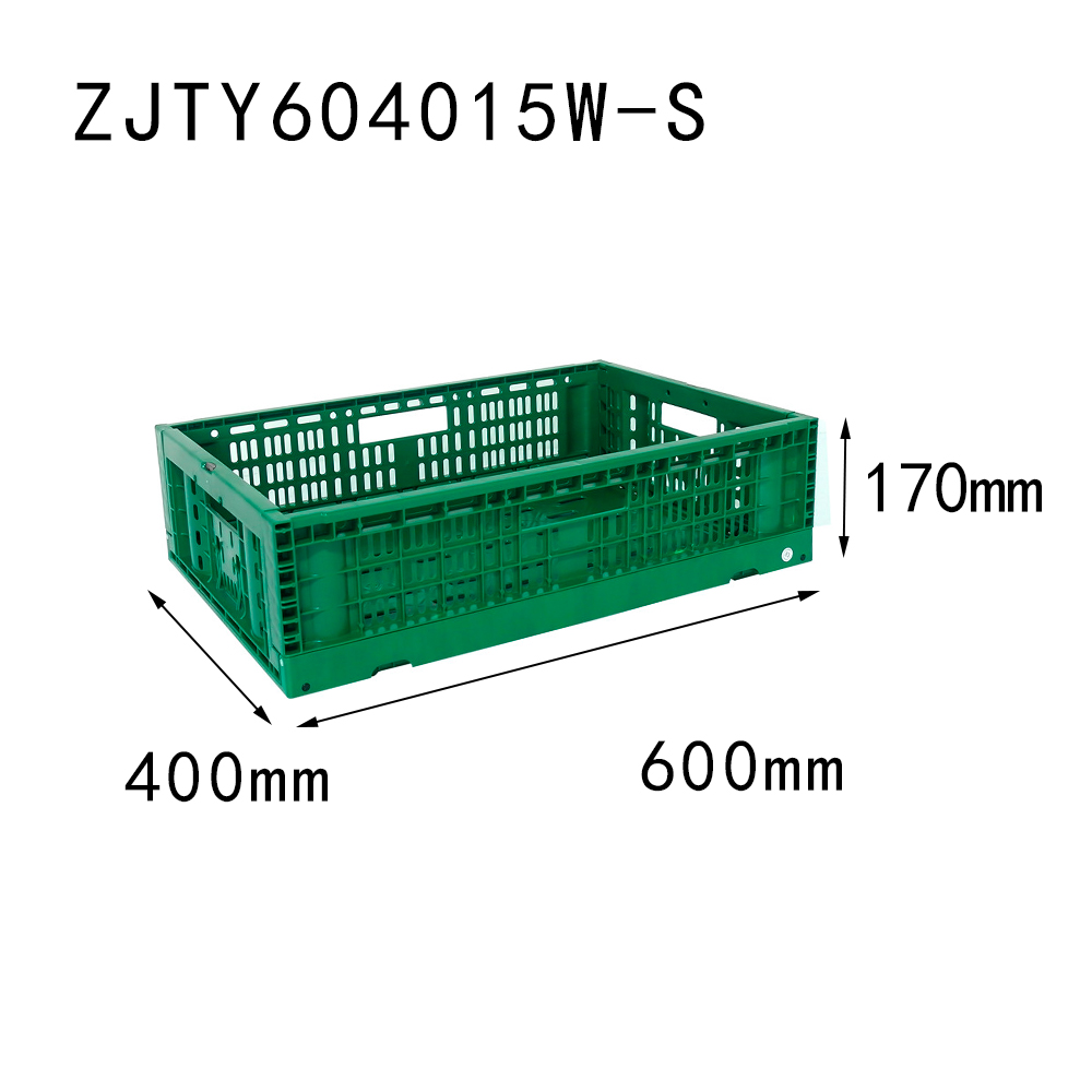 "23.6""x15.7""x 6.7"" supermarket use vented type collapsible plastic folding crate for fruit"