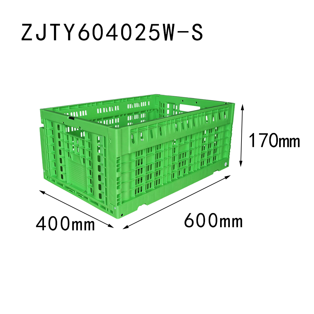 "23.6""x15.7""x 10.2"" supermarket use vented type collapsible plastic folding crate for fruit"