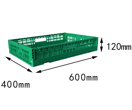 "23.6""x15.7""x 4.7"" supermarket use vented type collapsible plastic folding crate for fruit"