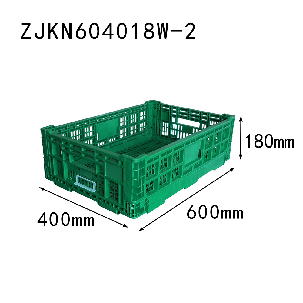 ZJKN604018W-2 fruit use PP material vented type plastic collapsible crates