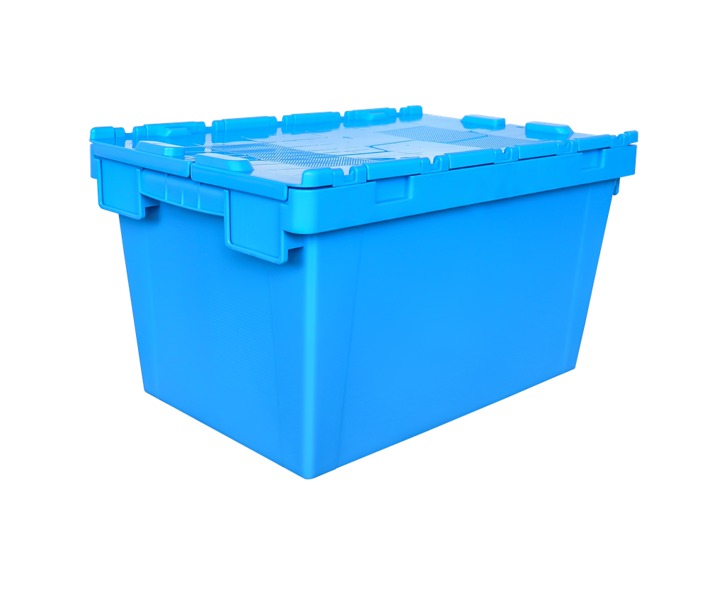 600x400x340 mm plastic moving tote box with hinged lid