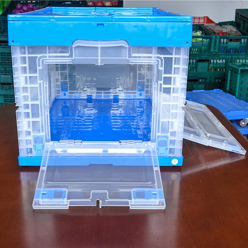 600x400x355mm  plastic foldable box crates with two side open