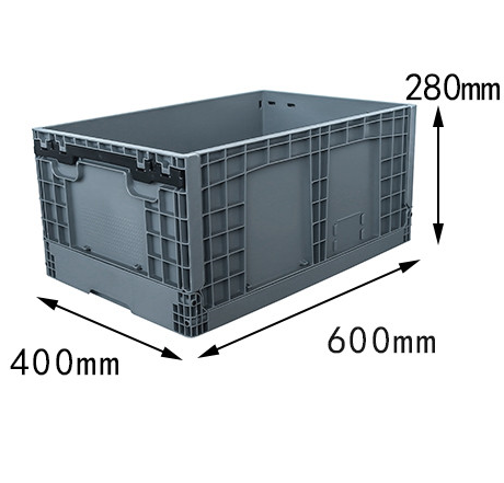 600x400x280 mm  plastic foldable box crates and storage bin