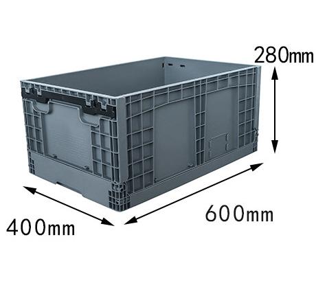 600x400x280 mm  plastic foldable box crates and storage bin